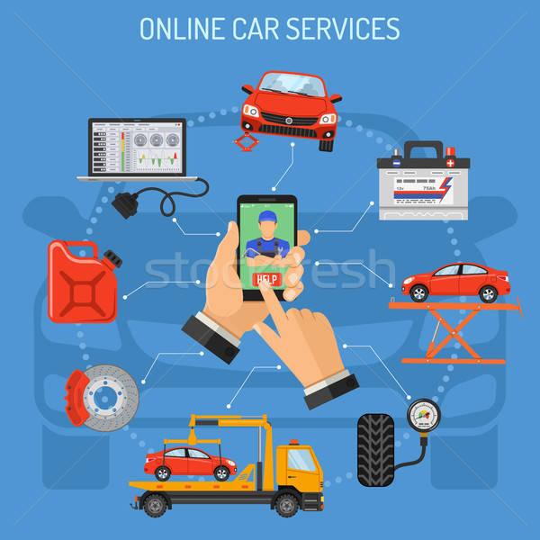 Stock fotó: Online · autó · szolgáltatás · karbantartás · férfi · tart