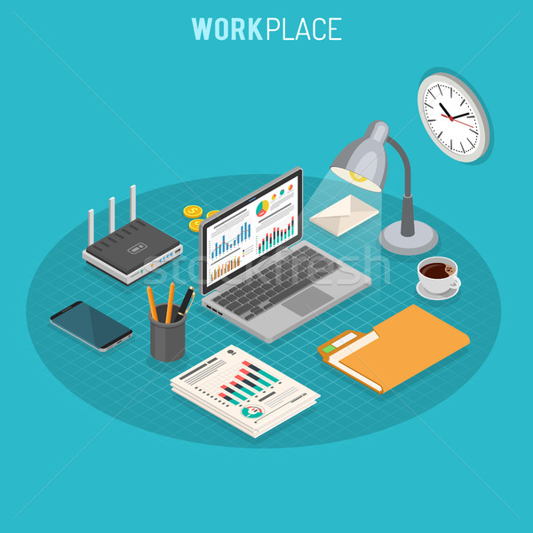 Workplace Isometric Concept Stock photo © -TAlex-
