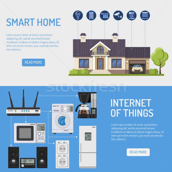 Smart дома интернет вещи Баннеры горизонтальный Сток-фото © -TAlex-