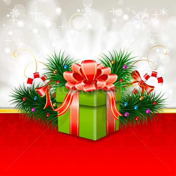Photo stock: Noël · carte · de · vœux · coffret · cadeau · sapin