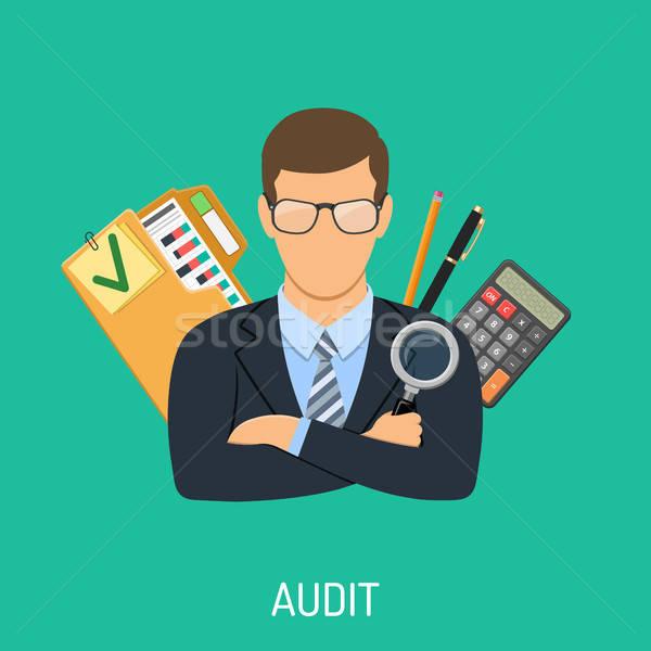 Revisor boekhouding belasting business vergrootglas hand Stockfoto © -TAlex-