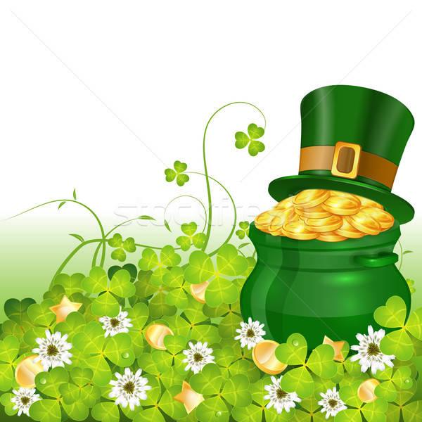 Nap poszter edény arany érmék kalap lóhere Stock fotó © -TAlex-