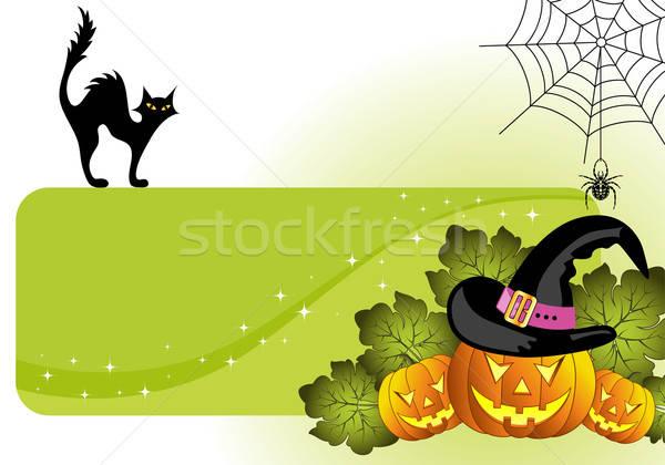 Photo stock: Halloween · cadre · citrouille · araignée · chat · élément