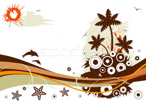 Estate grunge palma delfino starfish cerchio Foto d'archivio © -TAlex-