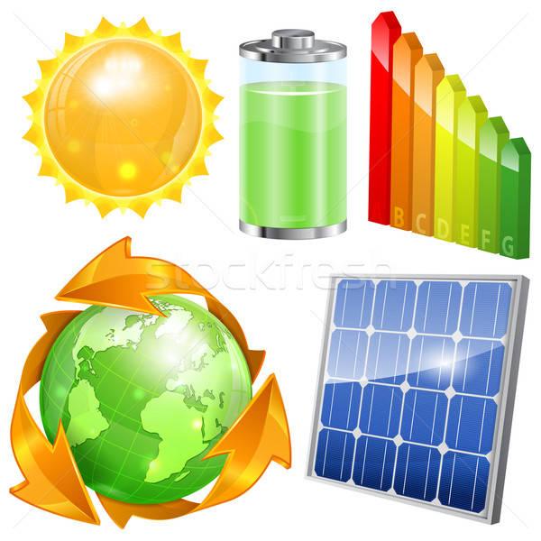 Groene energie ingesteld zonnepaneel energie-efficiëntie zon batterij Stockfoto © -TAlex-