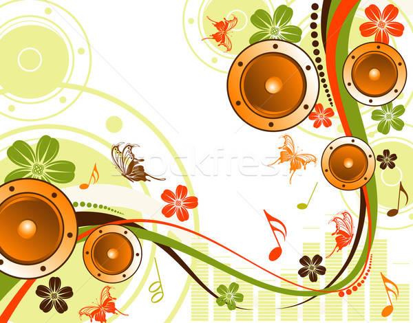 Foto d'archivio: Floreale · altoparlante · farfalla · modello · onda · elemento · design