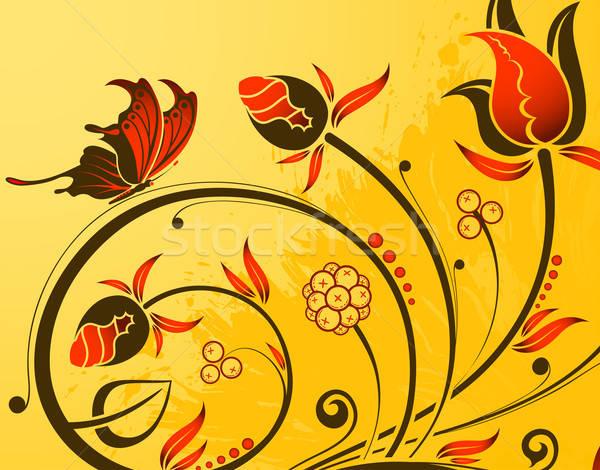 Virágmintás grunge pillangó alkotóelem terv textúra Stock fotó © -TAlex-