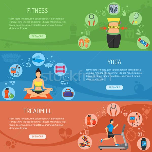 Jóga fitnessz vízszintes bannerek tornaterem ikonok Stock fotó © -TAlex-