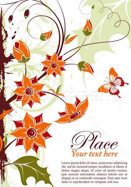 Virágmintás keret grunge pillangó alkotóelem terv Stock fotó © -TAlex-