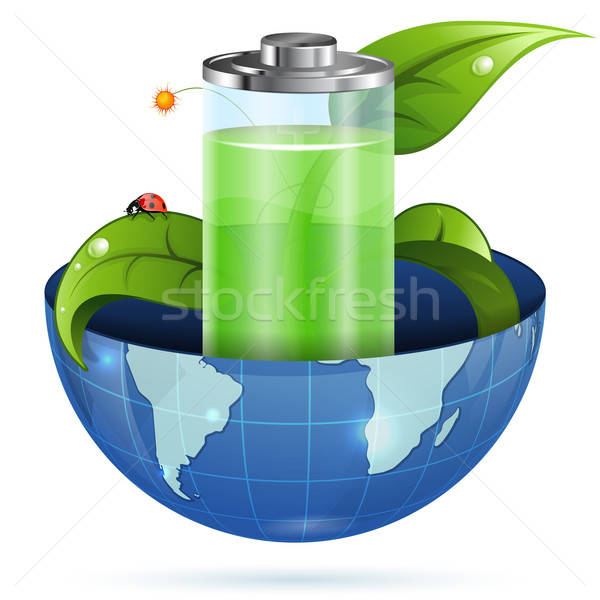 Groene energie milieu jonge groene spruit batterij Stockfoto © -TAlex-