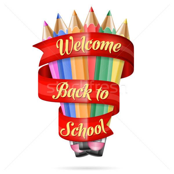 üdvözlet vissza az iskolába színes ceruzák szalag szöveg Stock fotó © -TAlex-