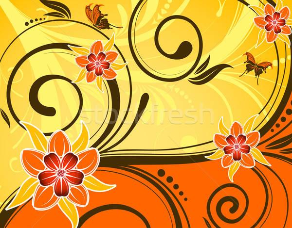Virág pillangó hullám minta alkotóelem terv tavasz Stock fotó © -TAlex-