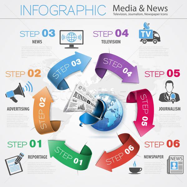 Los medios de comunicación noticias infografía flechas periodismo televisión Foto stock © -TAlex-