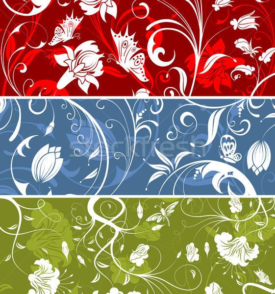 Modello di fiore tre abstract farfalla elemento design Foto d'archivio © -TAlex-