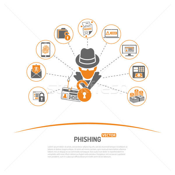 Crime phishing ícones aviador cartaz Foto stock © -TAlex-