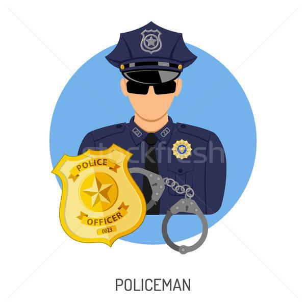 Policjant ikona odznakę przestępczości kara wektora Zdjęcia stock © -TAlex-