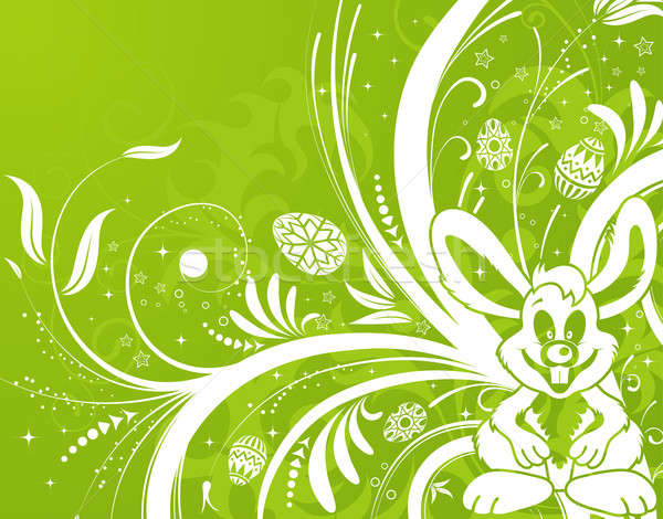 Easter background with eggs, rabbit and flower Stock photo © -TAlex-