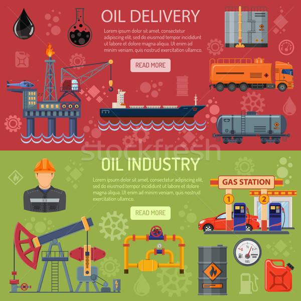 Stockfoto: Olie-industrie · banners · horizontaal · iconen · productie · vervoer