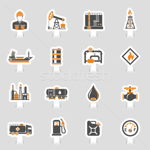 Oil Industry Icons Sticker Set Stock photo © -TAlex-