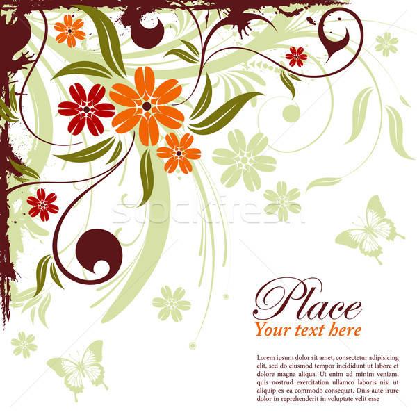 Stock fotó: Virágmintás · keret · grunge · dekoratív · pillangó · alkotóelem