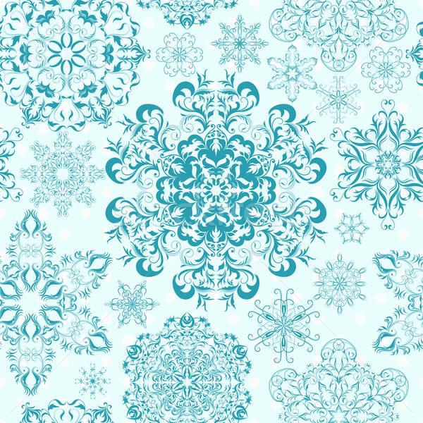 Végtelenített hópelyhek absztrakt tél kék csillag Stock fotó © 0mela