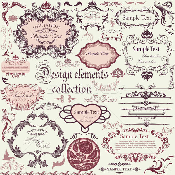 Vector set of calligraphic design elements and floral frames Stock photo © 0mela