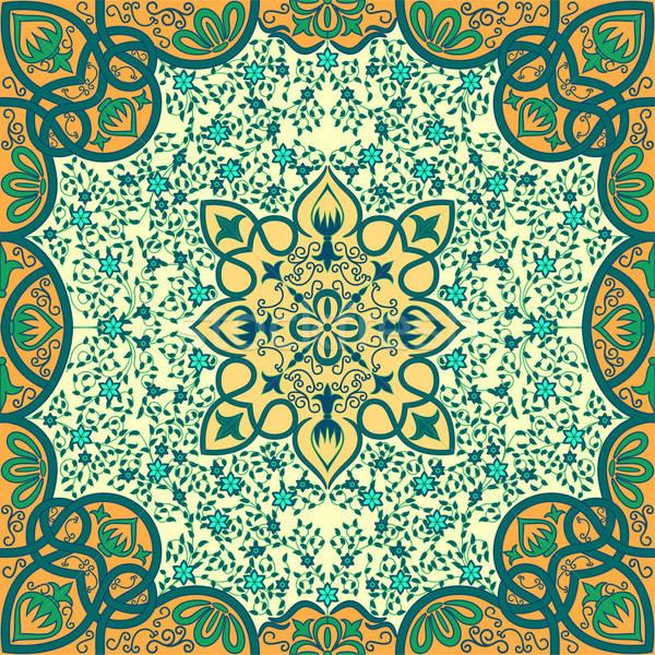 Vektor virágmintás dísz terv csillag szövet Stock fotó © 0mela