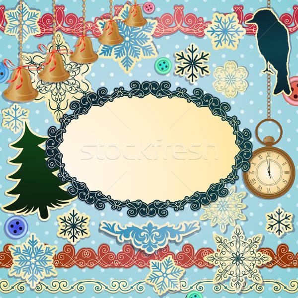 Vektor luxus szett karácsony tárgy konzerv Stock fotó © 0mela