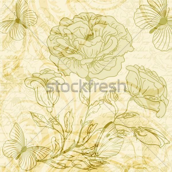 Stock fotó: Koszos · retro · rózsák · pillangók · virág · kéz