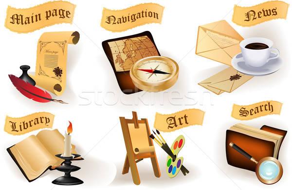 Antichi icone raccolta sito legno frame Foto d'archivio © 0mela