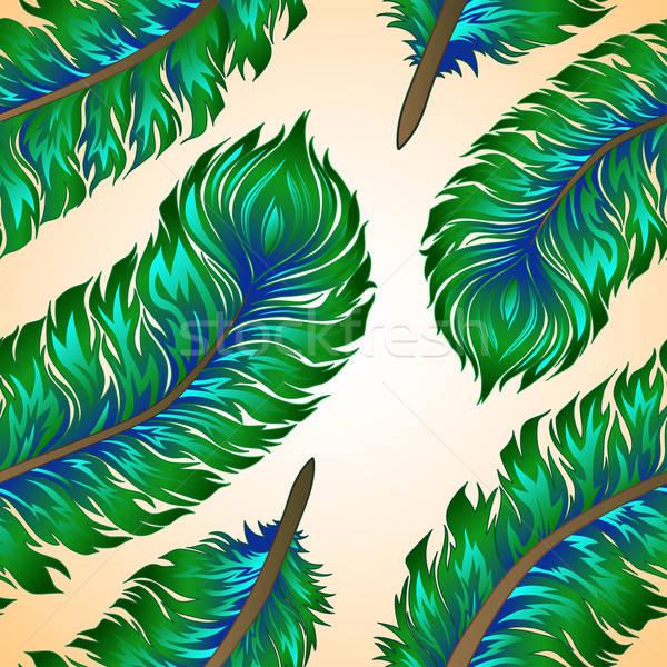 Stockfoto: Naadloos · vector · kleurrijk · veren · abstract · pen