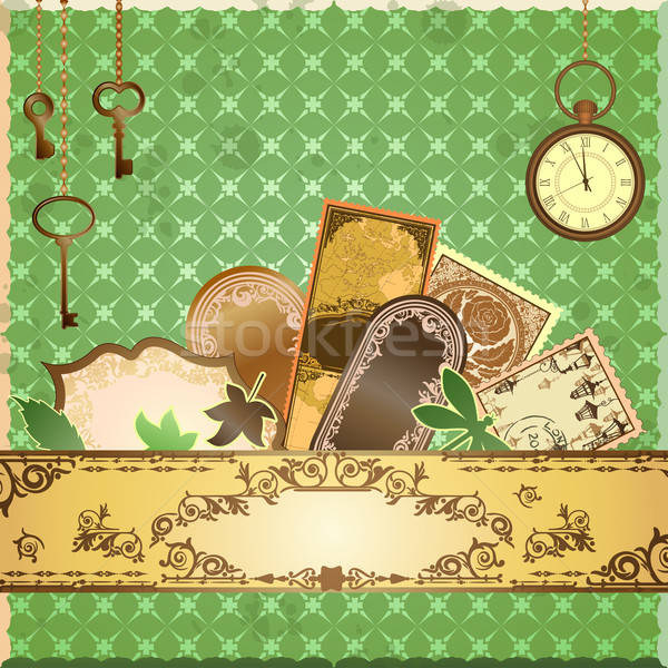 Vector scrapbooking luxury card with marks and stickers Stock photo © 0mela