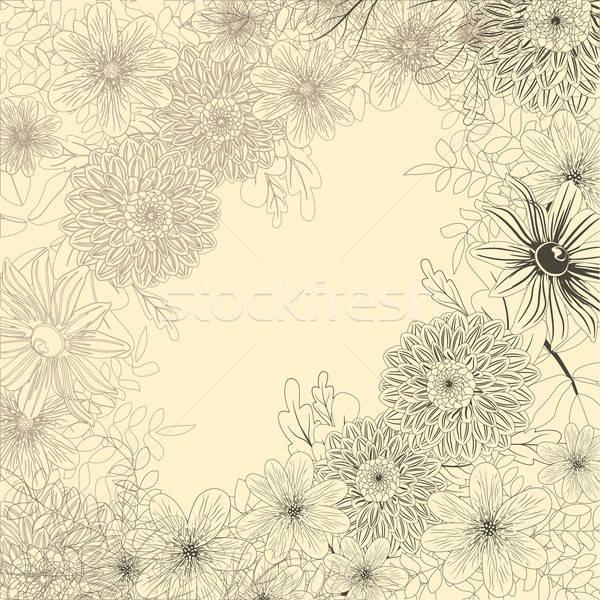 Retro kart bahçe çiçekler soyut arka plan Stok fotoğraf © 0mela