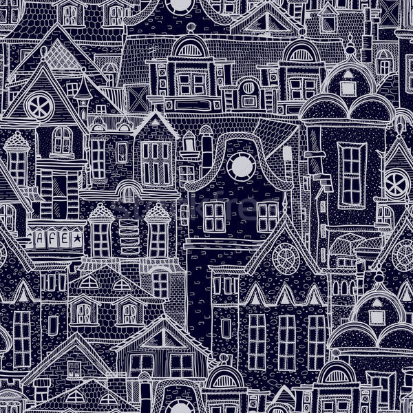Hand-drawn seamless pattern with old town Stock photo © 0mela
