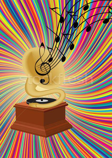 Gramófono jugando música colorido oro jazz Foto stock © 0mela