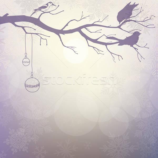 Fény tél sziluett ág madarak könyv Stock fotó © 0mela