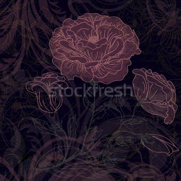 暗い レトロな バラ 庭園 背景 ストックフォト © 0mela