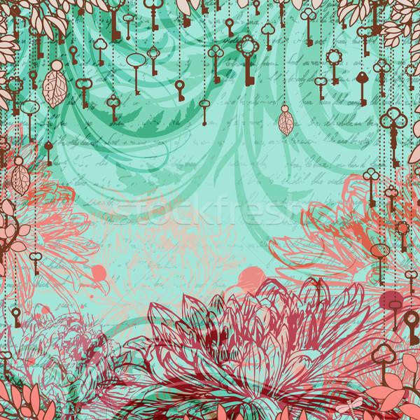 Klasszikus krizantém virágok akasztás kulcsok levél Stock fotó © 0mela