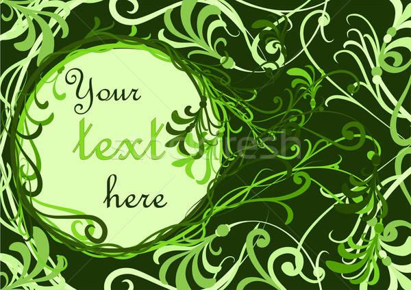 Zöld virágmintás hely szöveg természet levél Stock fotó © 0mela