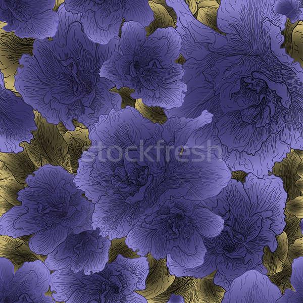 Sem costura violeta flores flor natureza projeto Foto stock © 0mela