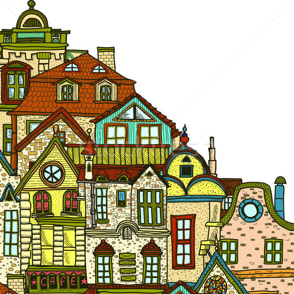 Stock photo: Hand-drawn background with old town