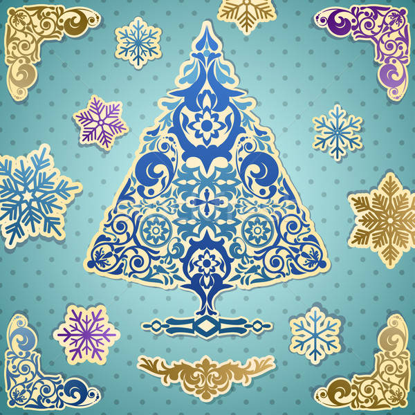 Kart stilize vektör noel ağacı mutlu siluet Stok fotoğraf © 0mela