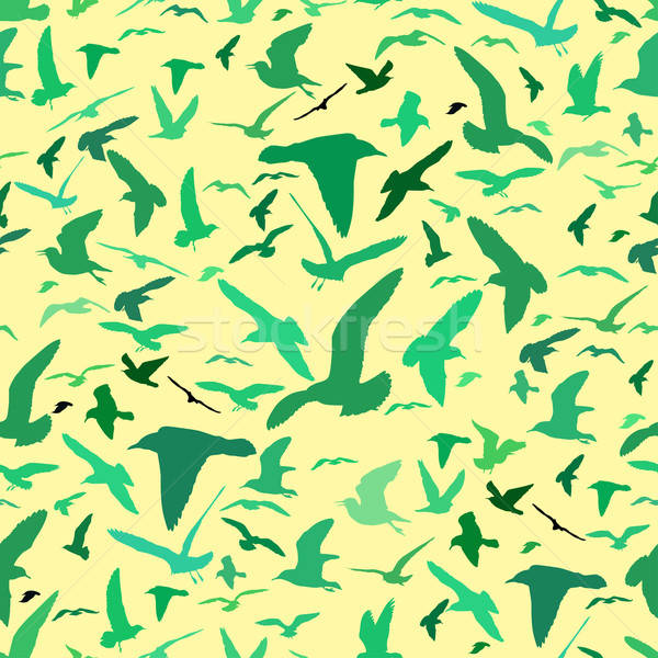 Seamless pattern with seagull silhouettes Stock photo © 0mela