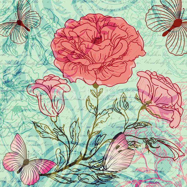 Koszos retro rózsák pillangók tavasz terv Stock fotó © 0mela