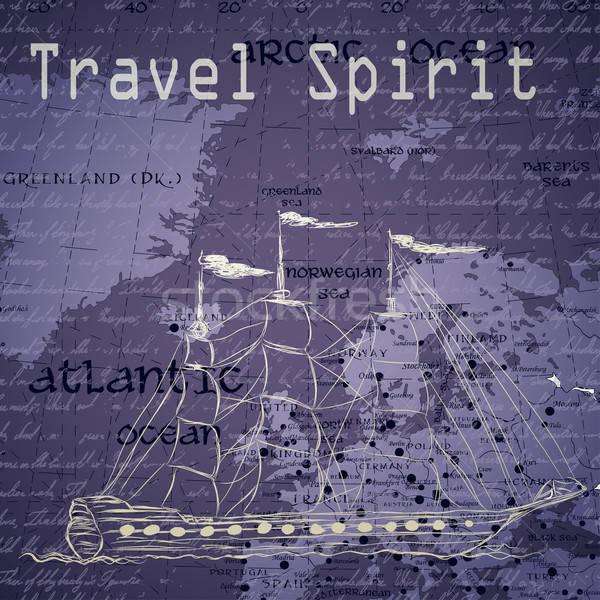 Utazás klasszikus térkép kézzel írott hajó terv Stock fotó © 0mela