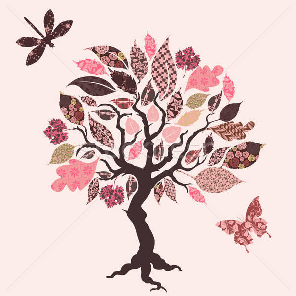 Vector tree with patch leaves Stock photo © 0mela