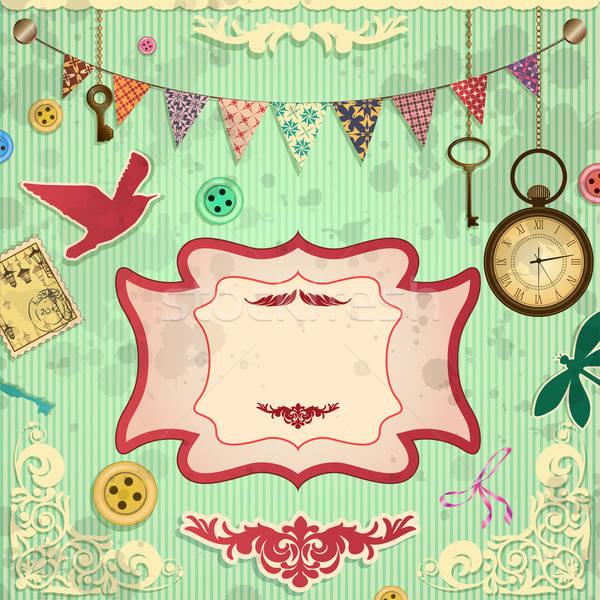 Klasszikus kártya papír könyv óra fém Stock fotó © 0mela
