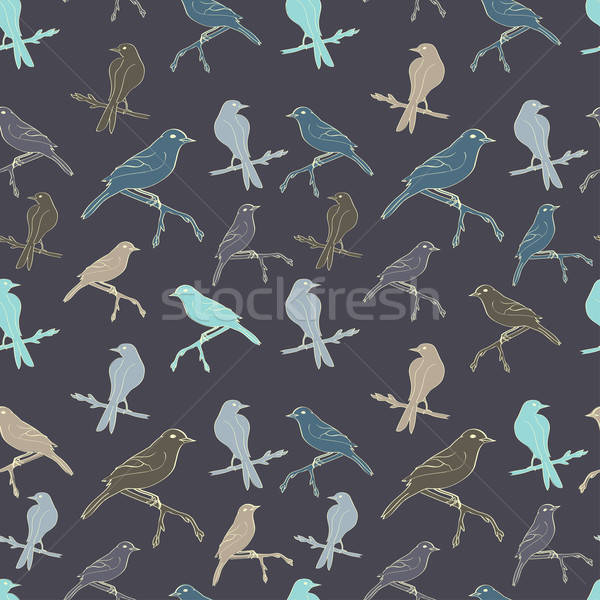 Stock photo: Seamless pattern with birds