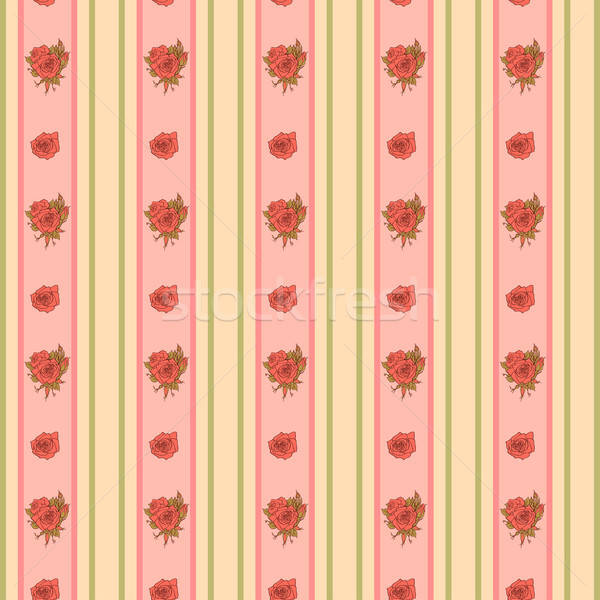 Vintage rose and stripes pattern for wallpaper Stock photo © 0mela