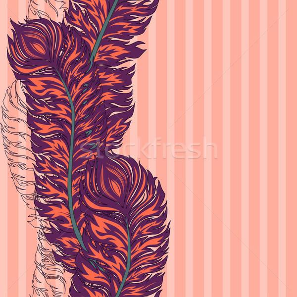 Vektör renkli tüy sınır kalem Retro Stok fotoğraf © 0mela
